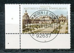 GERMANY Mi. Nr. 2905 350. Geburtstag Von Matthäus Daniel Pöppelmann - ET Weiden - Eckrand Unten Links - Used - [7] République Fédérale