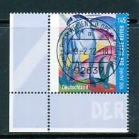 GERMANY Mi. Nr. 2911 Blaues Pferd I; Gemälde Von Franz Marc - ET Weiden - Eckrand Unten Links - Used - [7] République Fédérale