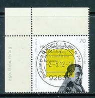 GERMANY Mi. Nr. 2934 250. Geburtstag Von Johann Gottlieb Fichte - ET Weiden - Eckrand Oben Links - Used - [7] République Fédérale