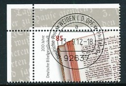 GERMANY Mi. Nr. 2955 200 Jahre Deutsche Bibelgesellschaft - ET Weiden - Eckrand Oben Links - Used - [7] République Fédérale