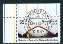 GERMANY Mi. Nr. 2956 100 Jahre Deutsche Nationalbibliothek - ET Weiden - Eckrand Oben Links - Used - [7] République Fédérale