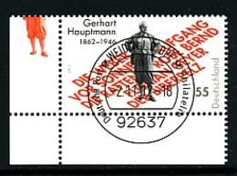 GERMANY Mi. Nr. 2963 150. Geburtstag Von Gerhart Hauptmann - ET Weiden - Eckrand Unten Links - Used - [7] République Fédérale