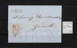 1854-1862 SITZENDE HELVETIA Ungezähnt (Strubel)  → Küssnacht Nach Zürich  SBK-22F/B1m - 1854-1862 Helvetia (Imperforates)
