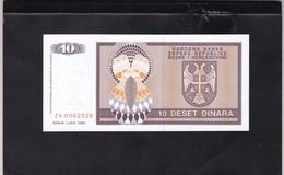 REPUBLIC SRPSKA 10 DINARA 1992 (ZAMJENSKA) REPLACEMENT UNC BANKNOTE (11) - Bosnie-Herzegovine