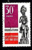 COTE D'IVOIRE 286° 30f Noir Violet Et Vermillon Exposition Des Arts De La Cote D'Ivoire à Vevey (10% De La Cote + 015) - Côte D'Ivoire (1960-...)