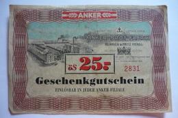Austria, Anker Brot Fabrik, Geschenkgutschein 25 öS, - Autriche