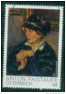 2015 - 3224 - ° - Moderne Kunst Dame Mit Dunklem Hut; Gemälde Von Anton Faistauer - 1945-.... 2. Republik