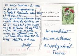 """Beau Timbre """" Fleur """" , Stamp Sur Cp , Carte , Postcard Pour La France Du 24/04/2001 - Tunisie (1956-...)"""