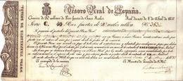 ESPAGNE - BILLET , CHARLES V - BILLETE CARLISTA 1837 N° 3834 - SMCD CARLOS V - TESORO REAL DE ESPAÑA , 50 PESOS FUERTES - Espagne