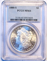1880-S Morgan Silver Dollar. PCGS Certified MS64. M16. - Federal Issues