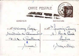 MAROC CARTES INTERZONE PETAIN AVEC SURTAXE AERIENNE CASABLANCA POSTES 1FR - Maroc (1891-1956)