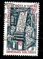 COTE D'IVOIRE 299° 20f Gris, Rouge Et émeraude Industrie Impression Des Tissus (10% De La Cote + 015) - Côte D'Ivoire (1960-...)