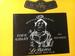 9159 - Pinot-Gamay Ma Réserve 1987 Le Baron Michel Gfeller Bougy-Villars Suisse - Etiquettes