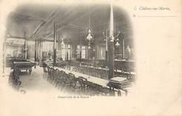 CPA 51 Marne Chalons Sur Marne En Champagne Grand Café De La Bourse Intérieur Billard Lustres Téléphone Précurseur Neuve - Châlons-sur-Marne