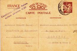 MAROC CARTES INTERZONE IRIS AVEC SURTAXE AERIENNE CASABLANCA POSTES AVION 0.80FR - Marokko (1891-1956)