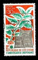 COTE D'IVOIRE 304° 30f Orange, émeraude Et Gris 10ème Anniversaire De L'indépendance (10% De La Cote + 015) - Côte D'Ivoire (1960-...)