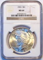 1923 Peace Silver Dollar. NGC Certified MS64. M17. - Federal Issues