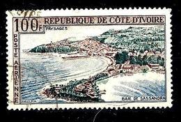 COTE D'IVOIRE Aer27° 100f Brun-violet, Vert-bleu Et Bleu Baie De Sassandra (10% De La Cote + 015) - Côte D'Ivoire (1960-...)