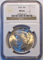 1922 Peace Silver Dollar. NGC Certified MS64. M18. - Federal Issues