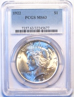 1922 Peace Silver Dollar. PCGS Certified MS63. M19. - Federal Issues