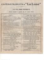 """P44    WW1 1915 Cafés & Produits à """"La Lune"""" En Raison Des événements Actuels.... - 1900 – 1949"""