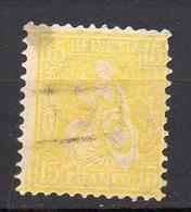 1867 Svizzera Helvetia Unificato N. 44  15 C Giallo Timbrato Used - 1862-1881 Helvetia Seduta (dentellati)