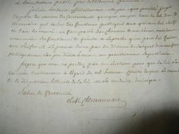 LETTREAUTOGRAPHE SIGNEE DE CLEMENCEAU DE LA LANDE 1798 DEPUTE ANGERS VENDEENS CHOUANS DENONCIATION - Autographs