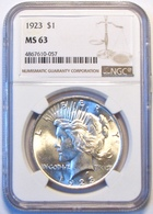 1923 Peace Silver Dollar. NGC Certified MS63. M20. - Federal Issues