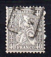 1867 Svizzera Helvetia Unificato N. 47  40 C Grigio Timbrato Used - 1862-1881 Sitzende Helvetia (gezähnt)