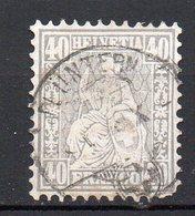 1867 Svizzera Helvetia Unificato N. 47  40 C Grigio Timbrato Used - 1862-1881 Helvetia Seduta (dentellati)