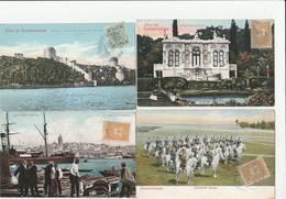 4 CPA COULEUR:TURQUIE CONSTANTINOPLE PORT DE STAMBOUL,PALAIS IMPÉRIAL DE FLAMOUR,BOSPHORE CHÂTEAU,CAVALERIE TURQUE - Turquie