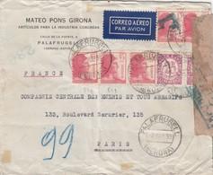 LETTRE ESPAGNE. 2 SEPT 1938. MATEO PONS GIRONA PALAFRUGELL POUR LA FRANCE. CENSURE ESPANOLA - 1931-50 Lettres