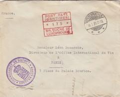 LETTRE LUXEMBOURG. 10 MARS 1939. PORT PAYÉ 175c COMMISSARIAT DE DISTRICT GREVENMACHER POUR LA FRANCE - Lussemburgo