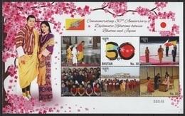 Bhutan (2016) - MS -  /  Diplomatic Relations Japan - Heritage - Flags - Dress - Costumes - Emissions Communes
