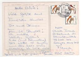 """Beaux Timbres """" Gazelles """" , Stamps Sur Cp , Carte , Postcard Pour La France Du 27/08/1999 - Tunisie (1956-...)"""