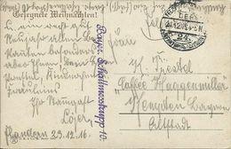 AK Weihnachten - Feldpost 1916 Flandern Belgien + Bayer. Schallmesstrupp 10 - 24. Inf. Div. #61 - War 1914-18