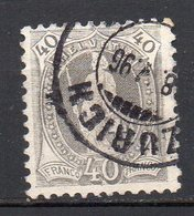 1882 Svizzera Helvetia In Piedi Unificato N. 75  40 C Grigio Timbrato Used - Usati