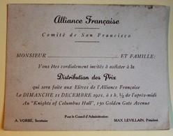 Invitation 1921 Alliance Française Comité De San Francisco Knights Of Columbus Hall Golden Gate Avenue - Faire-part