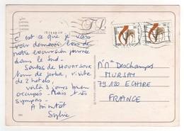 """Beaux Timbres """" Gazelles """" , Stamps Sur Cp , Carte , Postcard Pour La France Du 26/11/1988 - Tunisie (1956-...)"""