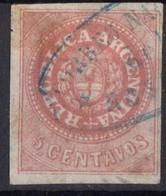1862 1864 ARGENTINE Obl 5  TB - Argentine