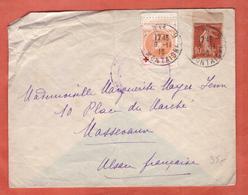 FRANCE VIGNETTE CROIX ROUGE SUR LETTRE DE 1916 DE PARIS POUR MASSEVAUX - Commemorative Labels