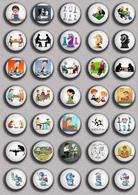 35 X Chess Fan ART BADGE BUTTON PIN SET 4 (1inch/25mm Diameter) - Badges