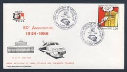 France Rep. Française 1988 Cover / Brief / Enveloppe - 50e Ann. UAICF 1938-1988 - Union Artistique Et Intellectuelle - Treinen