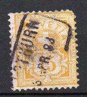 1882 Svizzera Cifra Unificato N. 69  15 C Giallo Timbrato Used - Usati