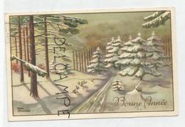 Bonne Année. Sentier à Travers Une Forêt Enneigée. Signée Henk Brouwer. - Nouvel An