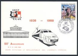 France Rep. Française 1988 Postcard Postkarte Carte Postale - 50e Ann. UAICF 1938-1988 - Union Artistique Intellectuelle - Treinen