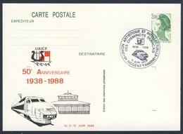 France Rep. Française 1988 Card / Karte / Carte Postale - 50e Ann. UAICF 1938-1988 - Union Artistique Intellectuelle - Treinen