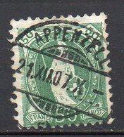1882 Svizzera Helvetia In Piedi Unificato N. 77  50 C Verde Timbrato Used - Usati