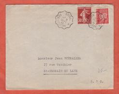 FRANCE CACHET AMBULANT EPINAL A NEUFCHATEAU SUR LETTRE DE 1941 POUR SAINT GERMAIN - Poststempel (Briefe)