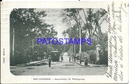 104653 PARAGUAY ASUNCION CALLE & TREN TRAIN BREAK CIRCULATED TO ARGENTINA POSTAL POSTCARD - Paraguay